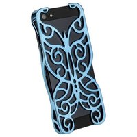 Накладка Chrome Butterfly Case Light Blue для iPhone 5 / 5s / SE голубая бабочка
