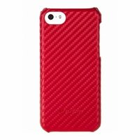 Карбоновая накладка Melkco для iPhone 5C красная - Melkco Leather Snap Cover Carbon Fiber Pattern - Red