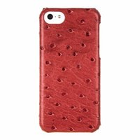 Накладка кожаная Melkco для iPhone 5C розовый страус - Melkco Leather Snap Cover Ostrich Print pattern - Fire Brick