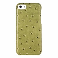 Кожаная накладка Melkco для iPhone 5C зеленый страус - Melkco Leather Snap Cover Ostrich Print pattern - Olive Green