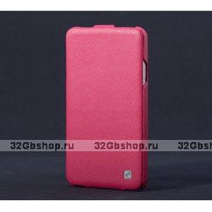 Кожаный чехол для Samsung Galaxy Note 3 N9000 розовый - HOCO Duke Leather Case Pink Flip