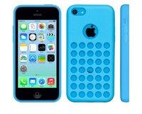 Чехол накладка для iPhone 5c силикон голубой