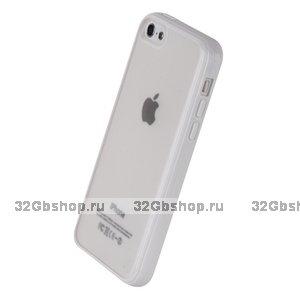 Накладка для iPhone 5C белая с прозрачной матовой задней стенкой