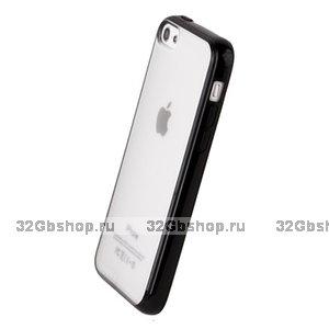Накладка для iPhone 5C черная с прозрачной матовой задней стенкой