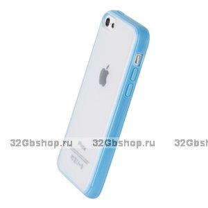 Накладка для iPhone 5C голубая с прозрачной матовой задней стенкой