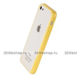 Накладка для iPhone 5C желтая с прозрачной матовой задней стенкой