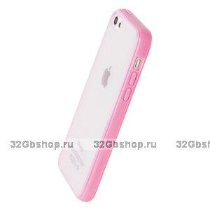 Накладка для iPhone 5C розовая с прозрачной матовой задней стенкой