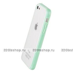 Накладка для iPhone 5C зеленая мятная с прозрачной матовой задней стенкой
