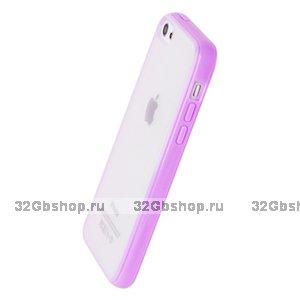Накладка для iPhone 5C фиолетовая с прозрачной матовой задней стенкой