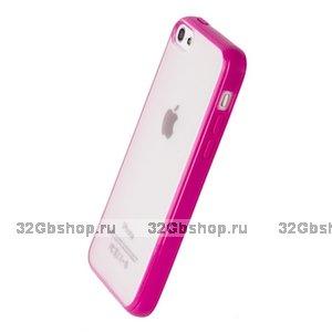 Накладка для iPhone 5C ярко-розовая с прозрачной матовой задней стенкой