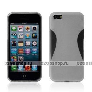 Силиконовый чехол накладка для iPhone 5C белый - Waistline Style Silicone Case White