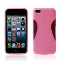 Силиконовый чехол накладка для iPhone 5C розовый - Waistline Style Silicone Case Pink