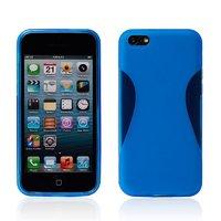 Силиконовый чехол накладка для iPhone 5C голубой - Waistline Style Silicone Case Blue