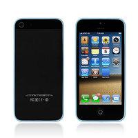 Супертонкий бампер 0.5 мм для iPhone 5s / SE / 5 прозрачный с голубыми силиконовыми вставками