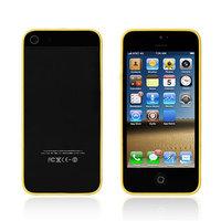 Супертонкий бампер 0.5 мм для iPhone 5s / SE / 5 прозрачный с желыми силиконовыми вставками
