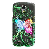 Силиконовый чехол для Samsung Galaxy S4 черный бабочка и узоры