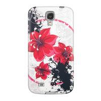 Силиконовый чехол для Samsung Galaxy S4 с узором красные цветы