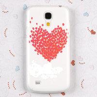 Накладка Protective для Samsung GT-I9190 Galaxy S4 Mini белая с красным сердцем