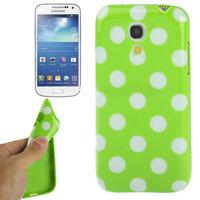 Силиконовый чехол для Samsung Galaxy S4 Mini зеленый с белыми точками - Polka Dots Green&White
