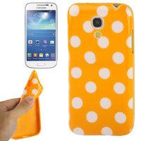 Силиконовый чехол для Samsung Galaxy S4 Mini оранжевый с белыми точками - Polka Dots Orange&White