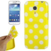 Силиконовый чехол для Samsung Galaxy S4 Mini желтый с белыми точками - Polka Dots Yellow&White