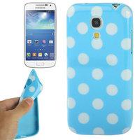 Силиконовый чехол для Samsung Galaxy S4 Mini голубой с белыми точками - Polka Dots