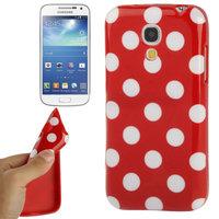 Силиконовый чехол для Samsung Galaxy S4 Mini красный с белыми точками - Polka Dots