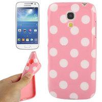 Силиконовый чехол для Samsung Galaxy S4 Mini розовый с белыми точками - Polka Dots