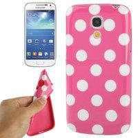 Силиконовый чехол для Samsung Galaxy S4 Mini темно розовый с белыми точками - Polka Dots