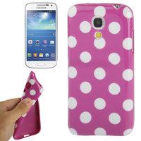Силиконовый чехол для Samsung Galaxy S4 Mini фиолетовый с белыми точками - Polka Dots