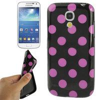 Силиконовый чехол для Samsung Galaxy S4 Mini черный с фиолетовыми точками - Polka Dots