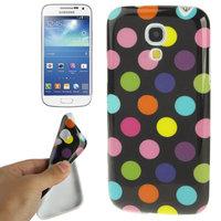 Силиконовый чехол для Samsung Galaxy S4 Mini черный с разноцветными точками - Polka Dots