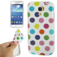 Силиконовый чехол для Samsung Galaxy S4 Mini белый с разноцветными точками - Polka Dots