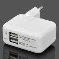 Сетевой блок питания для iPhone 5s / 5 / 6 s / iPad Air / iPad Pro на 2 выхода USB 1000/2100mA