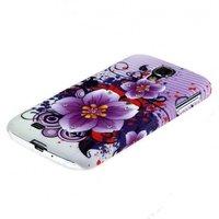 Чехол накладка для Samsung Galaxy S4 GT-I9500 со стразами фиолетовая с цветами
