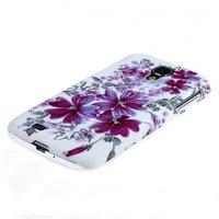 Чехол накладка для Samsung Galaxy S4 GT-I9500 со стразами белая с фиолетовыми цветами
