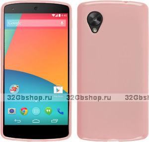 Силиконовый чехол для Google Nexus 5 розовый