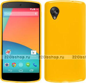 Силиконовый чехол для Google Nexus 5 желтый