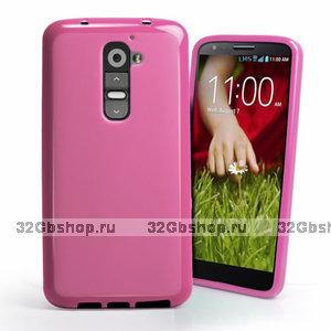 Розовый силиконовый чехол для LG G2 D802
