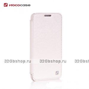 Кожаный чехол книжка HOCO для LG G2 белый - Hoco Retro Series Leather Flip Case White