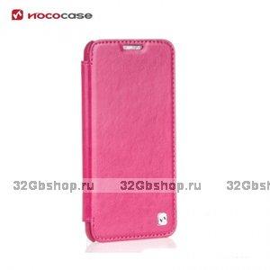 Кожаный чехол книжка HOCO для LG G2 розовый - Hoco Retro Series Leather Flip Case Pink
