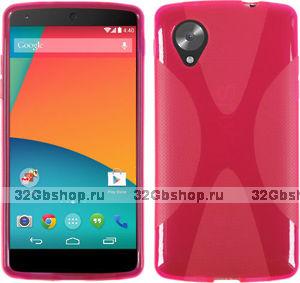 Силиконовый чехол X Style Case для Google Nexus 5 розовый