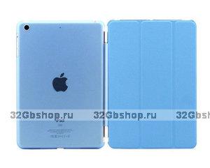 Чехол обложка для iPad Air голубой - Smart Cover & Crystal Back Case Blue