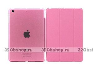 Чехол обложка для iPad Air розовый - Smart Cover & Crystal Back Case Pink