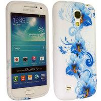Силиконовый чехол для Samsung Galaxy S4 голубые цветы с узором