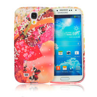 Силиконовый чехол для Samsung Galaxy S4 красные бабочки и веер