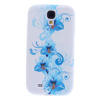 Чехол силиконовый для Samsung Galaxy S4 mini голубые цветы с узором