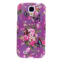 Чехол силиконовый для Samsung Galaxy S4 mini фиолетовый с цветами и бабочками
