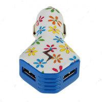 Автомобильный блок питания для iPhone 5s / 5 / 5c / iPad на 2 выхода USB 2100/1000mAh белый с разноцветными цветами