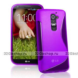 Силиконовый чехол для LG G2 D802 - S Line Wave Case Purple фиолетовый